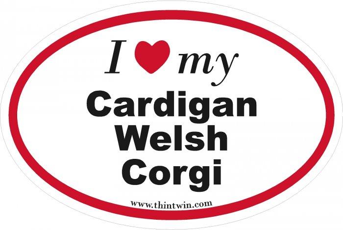 Cardigan Welsh Corgi Oval Car Sticker