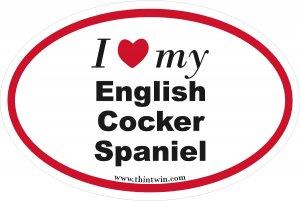 English Cocker Spaniel Oval Car Sticker