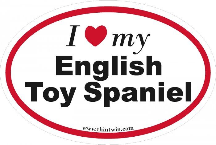 English Toy Spaniel Oval Car Sticker