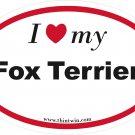 Fox Terrier Oval Car Sticker
