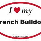 French Bulldog Oval Car Sticker