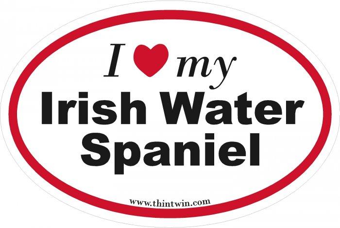 Irish Water Spaniel Oval Car Sticker
