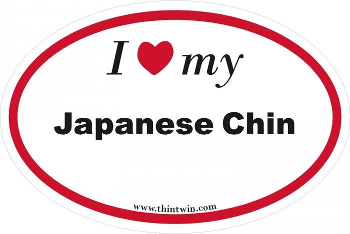Japanese Chin Oval Car Sticker