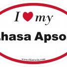 Lhasa Apsos Oval Car Sticker