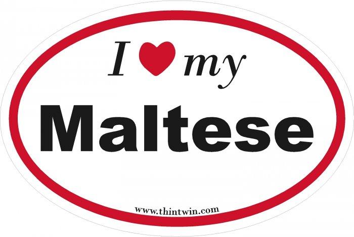 Maltese Oval Car Sticker