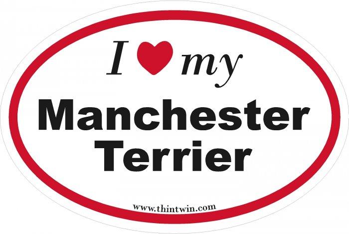 Manchester Terrier Oval Car Sticker