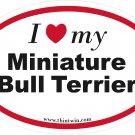 Miniature Bull Terrier Oval Car Sticker