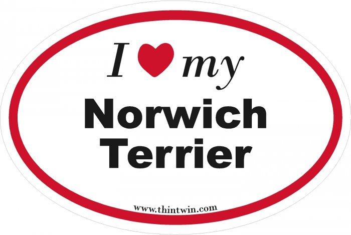 Norwich Terrier Oval Car Sticker