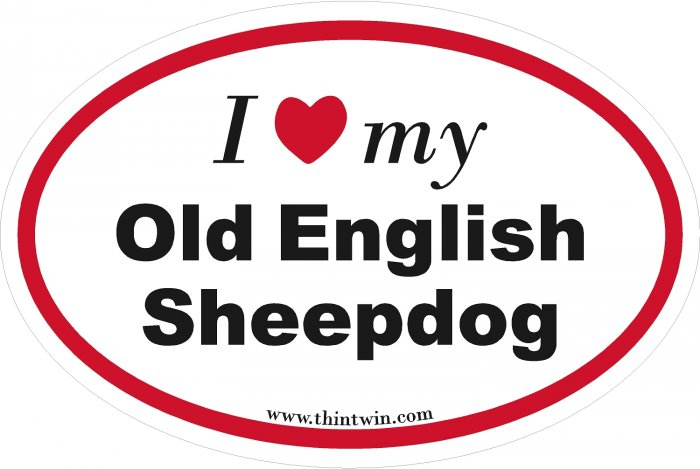 Old English Sheepdog Oval Car Sticker