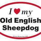 Old English Sheepdog Oval Car Sticker