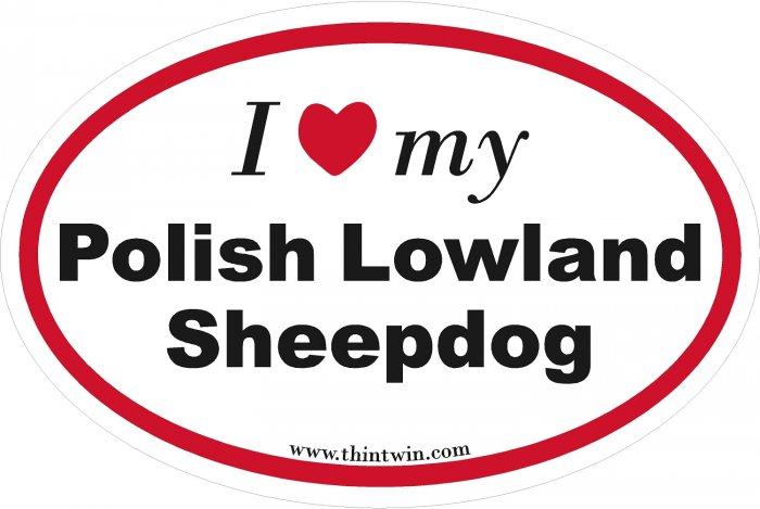 Polish Lowland Sheepdog Oval Car Sticker