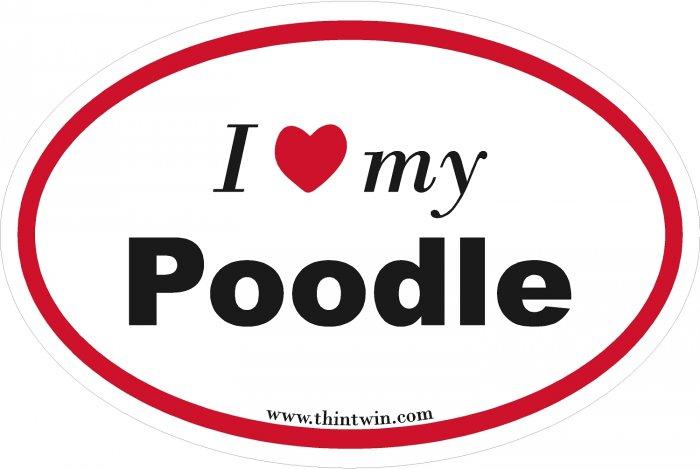 Poodle Oval Car Sticker