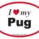Pug Oval Car Sticker