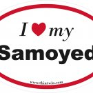 Samoyed Oval Car Sticker