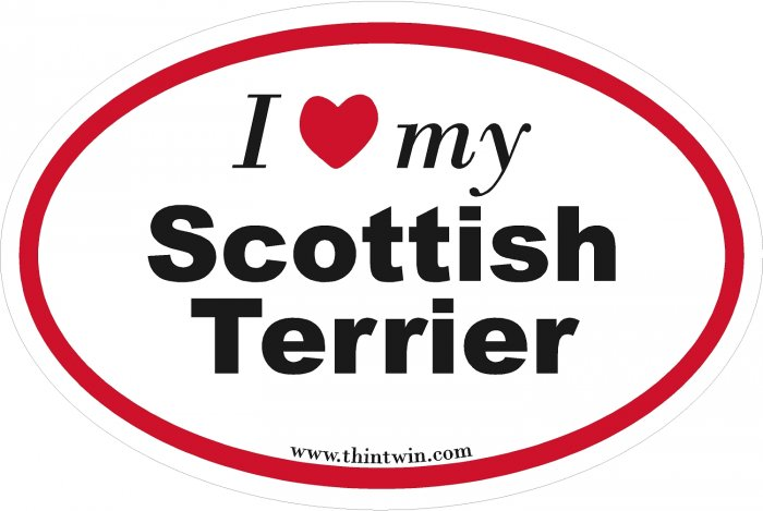 Scotish Terrier Oval Car Sticker