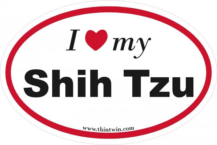 Shih Tzu Oval Car Sticker