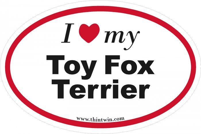 Toy Fox Terrier Oval Car Sticker