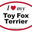Toy Fox Terrier Oval Car Sticker
