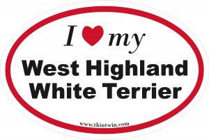 West Highland White Terrier Oval Car Sticker