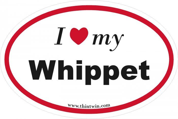 Whippet Oval Car Sticker