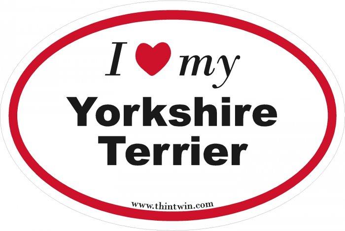 Yorkshire Terrier Oval Car Sticker