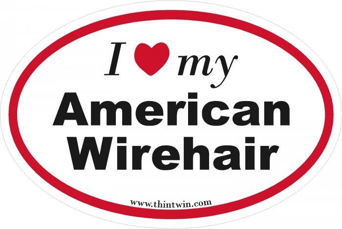 American Wirethair Oval Car Sticker