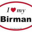 Birman Oval Car Sticker