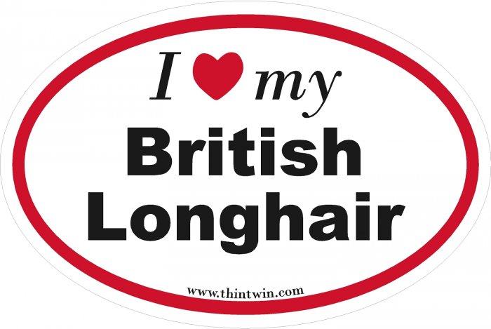 British Longhair Oval Car Sticker