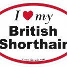 British Shorthair Oval Car Sticker