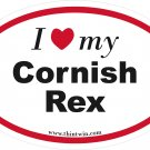 Cornish Rex Oval Car Sticker