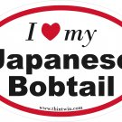 Japanese Bobtail Oval Car Sticker