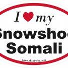Snowshoe Somali Oval Car Sticker