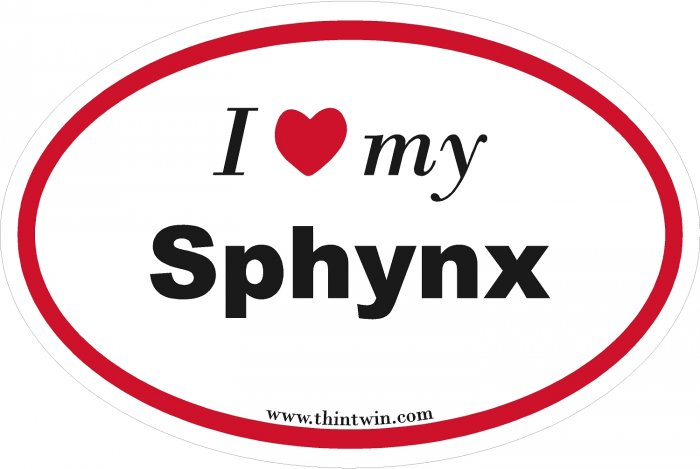 Sphynx Oval Car Sticker