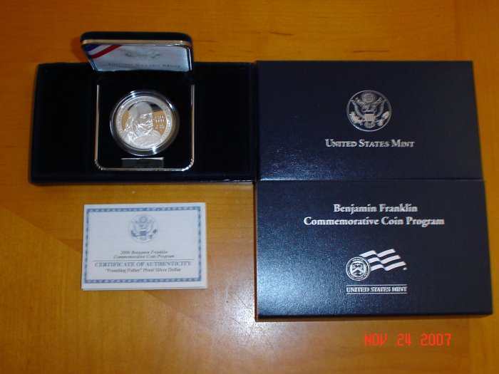 2006 United States Mint Benjamin Franklin Founding Father Proof Silver Dollar