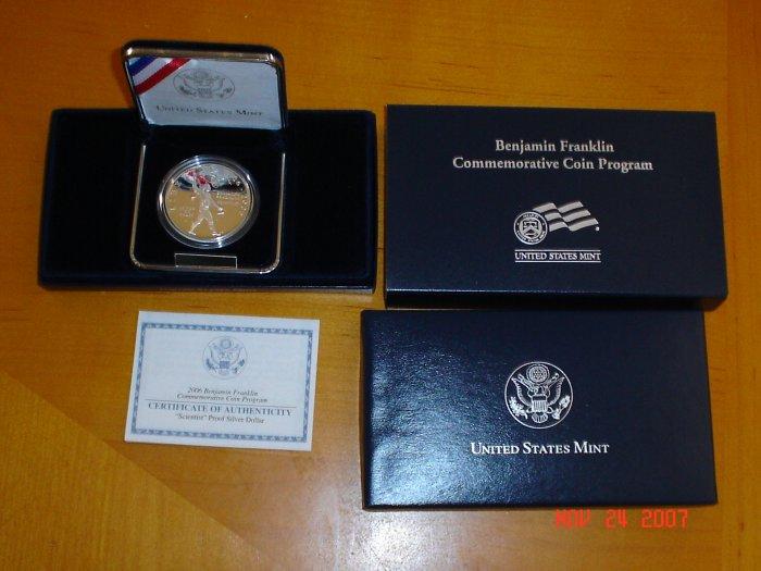 2006 United States Mint Benjamin Franklin Scientist Proof Silver Dollar