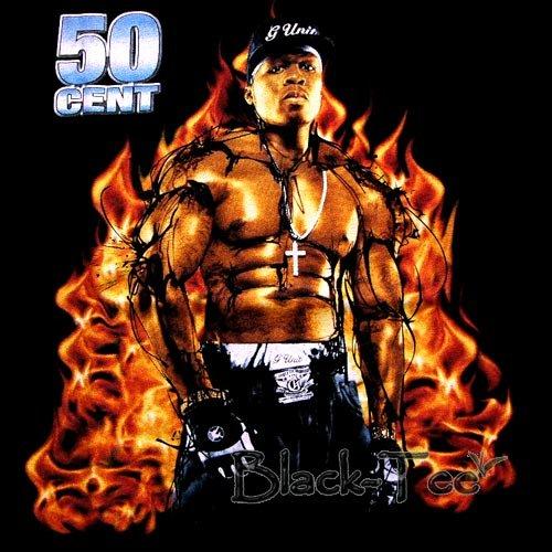 50 CENT BLACK MEN RAP TEE T SHIRT SIZE L / D28