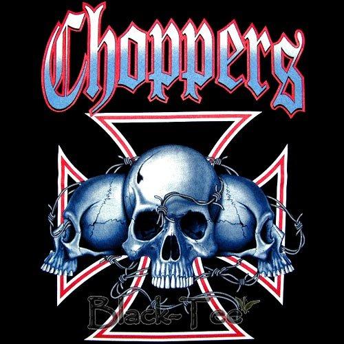 CHOPPERS BLACK TEE T SHIRT 3 SKULLS SIZE XL / G16