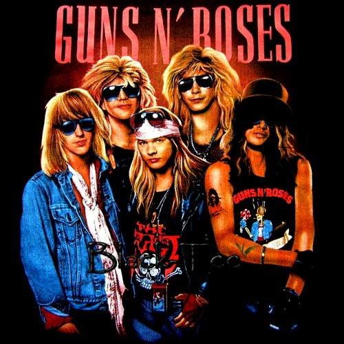 GUNS N ROSES BLACK ROCK TEE T SHIRT SIZE XL / D68