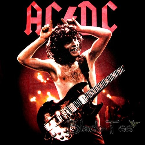 AC/DC BLACK HARD ROCK TEE T SHIRT ACDC SIZE L / F35
