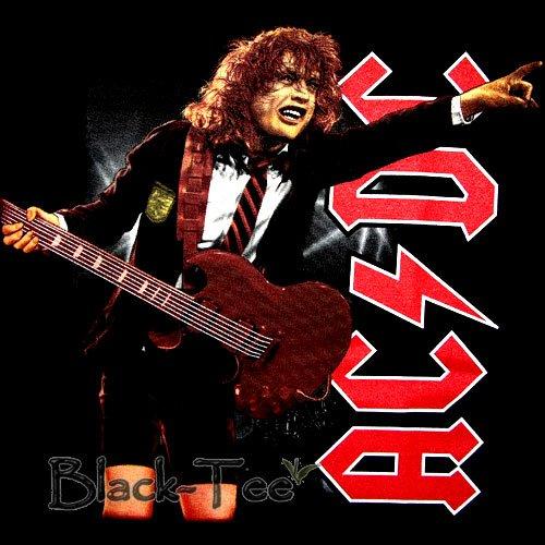 AC/DC BLACK HARD ROCK TEE T SHIRT CONCERT SIZE S / F37