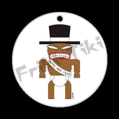 FRIKI-TIKI   New-Year-Tiki   Porcelain Christmas Ornament - NEW Collectible