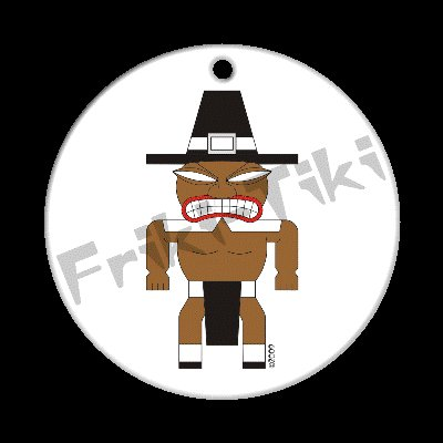 FRIKI-TIKI   Pilgrim-Tiki   Porcelain Christmas Ornament - NEW Collectible