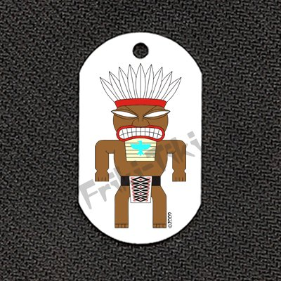 "FRIKI-TIKI   Tonto-Tiki   Dog Tag w/ 30"" Ball Chain - NEW"