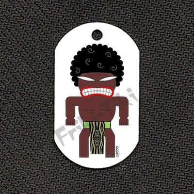 """FRIKI-TIKI   Afro-Tiki   Dog Tag w/ 30"""" Ball Chain - NEW"""