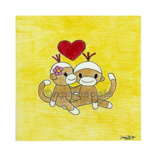 Kissing Sock Monkeys 5 x 5 Art Print
