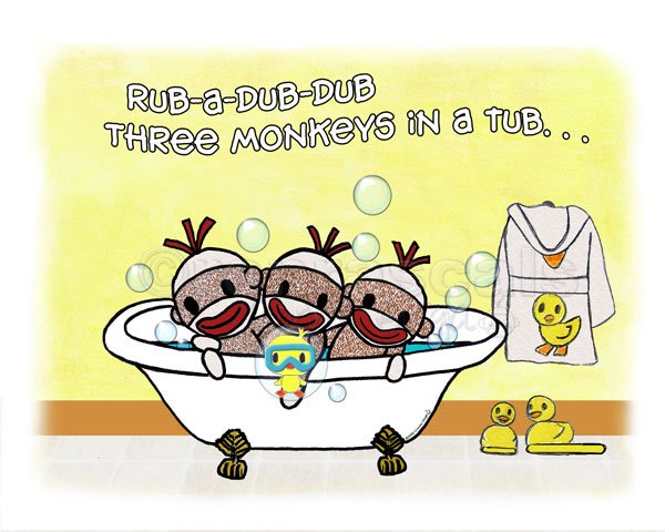 ART PRINT 7x5 Rub A Dub Dub Sock Monkeys in a Tub (Personalization also available)