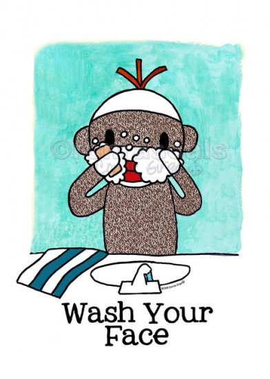 WASH YOUR FACE Sock Monkey Bath Room Reminders 4 x 6 print