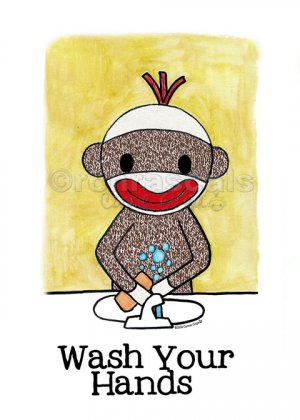 WASH YOUR HANDS Sock Monkey Bath Room Reminders 4 x 6 print