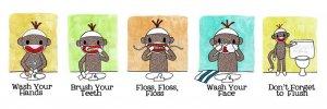 Sock Monkey Bath Room Reminders 18 x 6 Panel print (all 5)