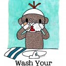 Sock Monkey Bath Room Reminders 5 x 7 (set of all 5) print prints